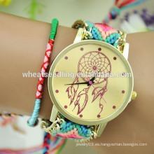 2015 reloj hecho a mano del regalo de la tela wooven hecho a mano del nuevo diseño