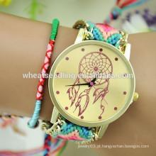 2015 Novo design handmade wooven relógio de presente de tecido