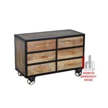 Eisen Holz Sideboard mit Rädern
