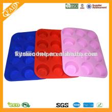 FDA Standard 12 cups round shape silicone muffin mold