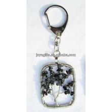 Natürlicher Schneeflocke-Spanstein verdrahtete glückliches Baumanhänger keychain