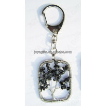 Natural Snow flake chip stone wired lucky tree pendant keychain