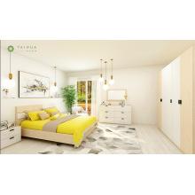 Dormitorio de combinación rectangular de roble claro y bloque blanco
