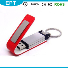 Movimentação de couro personalizada da pena do flash de USB da corrente chave para a amostra grátis