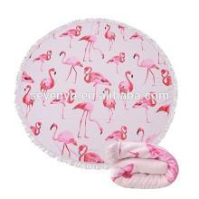Thick Round Beach Handtuch Decke - Microfiber Terry Beach Roundie Kreis Yoga-Matte mit Fransen, hohe Farbe Echtheit Flamingos