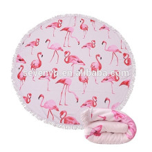 Couverture ronde épaisse de serviette de plage - tapis de yoga de cercle de Roundie de plage de Terry de microfibre avec la frange, solidité de couleur élevée-flamants roses