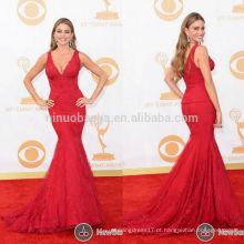 Sofia Vergara Emmy 2013 Vestido de celebridade de tapete vermelho Sexy Red V-Neck Longa Mermaid Tail Lace Vestido de noite formal com espartilho NB0795