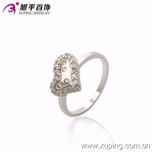 Las mujeres de moda elegante en forma de corazón de plata -Plated Jewelry CZ anillo de dedo de cristal -10122