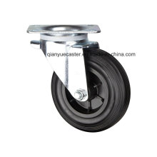 "8"" European Type Industrial Casters, Rubber Waste Bin Caster with Plastic Rim"