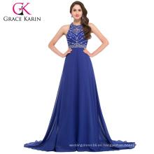 Grace Karin 2016 Nueva Colección sin mangas ahuecado espalda gasa azul largo vestido de noche GK000024-1