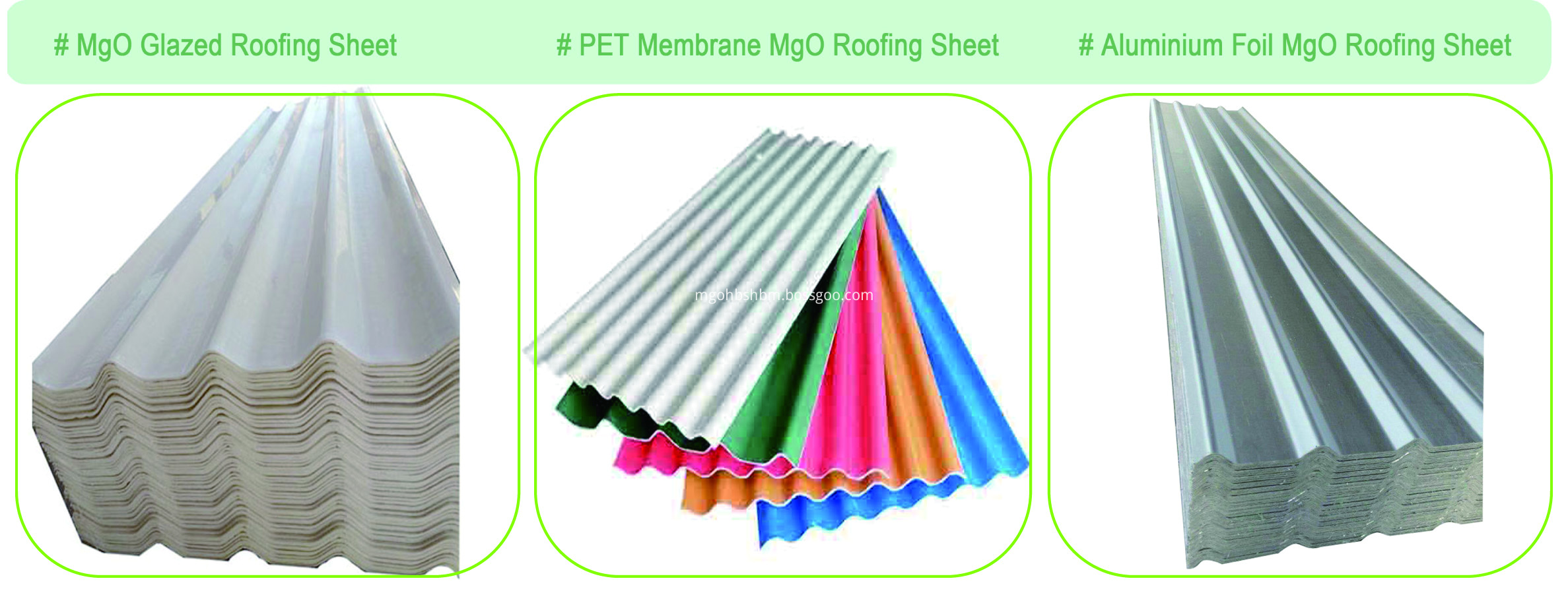 Incombustible High Strength No-asbestos MgO Corrugated Sheet
