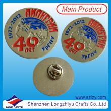 Insignia de metal personalizada, insignia de forma redonda, placa chapada en oro (lzy-1000077)