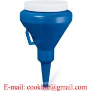1 1/4 Quart Dark Blue Double Capped Plastic Transmission Funnel