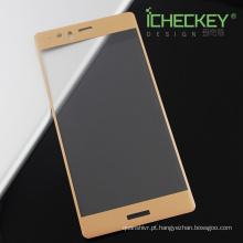 De seda-impressão de vidro temperado etiqueta da pele 3D capa completa para o Huawei P9 além de protetor de tela
