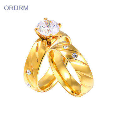 Murah 2 Piece Engagement Dan Wedding Ring Set