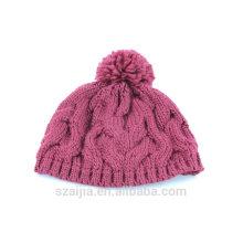 Meninas moda acrílico tricô pom chapéu