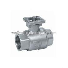Válvula de esfera CF8 2PC inox água com almofada de montagem directa do ISO 5211