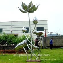 Sculpture en acier inoxydable Sculpture florale Lotus Art pour jardin / extérieur
