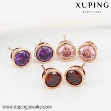 91986- Xuping Jóias Fashion 18K Banhado A Ouro Brincos Com Cor e Zircon Redonda