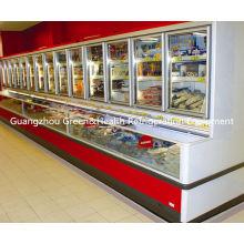 Glass Door Combination Freezer  , Commercial Display Energy Efficiency Cooler