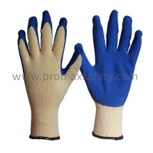 10 Gauge Yellow Tc Knitted Gloves with Blue Crinkle Latex Palm Coated