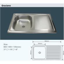 Venta al por mayor portátil de baño de acero inoxidable cocina lavabo lavabo con drenaje