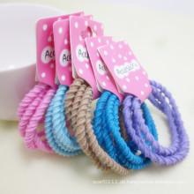 5 Stück Karte verpackt gemischte Farben Schraube elastische Haarbänder (JE1504)