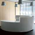 mesa de recepção de cor sólida superfície semi contínua branca