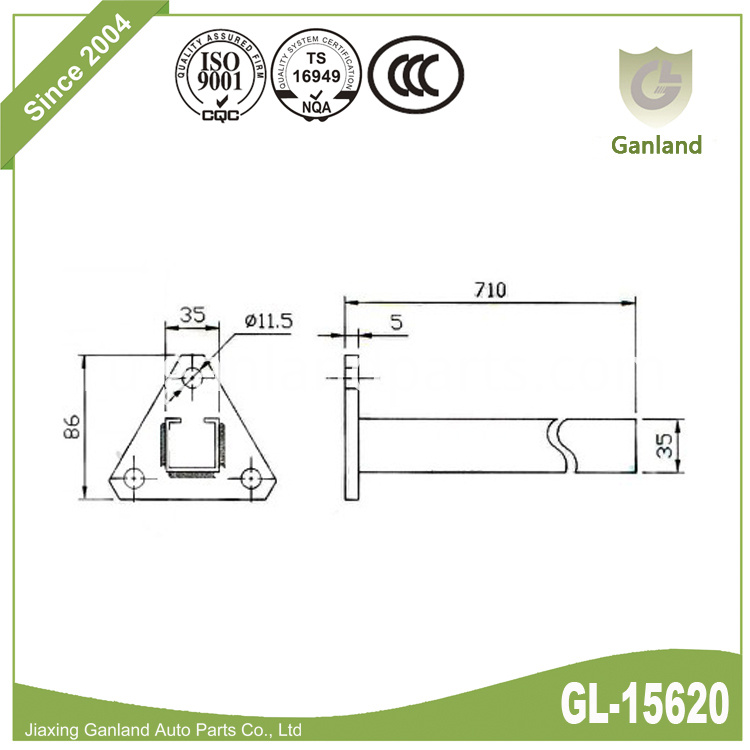 straight mudguard chassis pole gl-15620