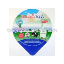 Pre Cut milk plastic lids Aluminium lidding foil with PS heat seal lacquered