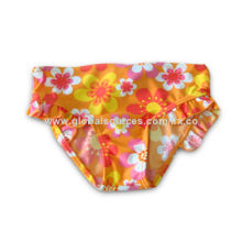 Girls' Swimwear with Allover Flowers Printed Fabric