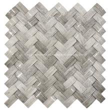 Piedra de mosaico de mármol gris 3D para decoración de paredes