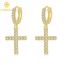 High Polish PVD Gold Plated Aretes Para Hombre Cubic Zirconia Brass Drop Cross Earrings