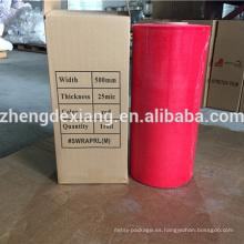 Película de estiramiento de color rojo para palet de embalaje