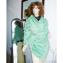 Cashmere Shawl with Rex Rabbit Trim (HM-YZ-SCF09003)