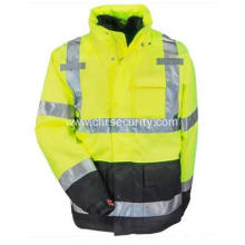 Men's Yellow Waterproof Insulated Hi-Vis Hooded Jacket
