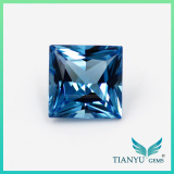 Wholesale Loose Synthetic gems 6A quality 9*9mm square pincess cut #1782 Nano Sital blue Gemstone