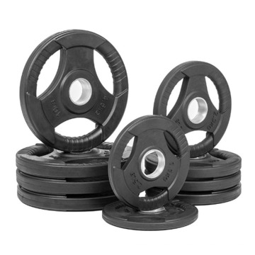 High Quality Gym Tri Grip Three Holes Rubber Coated Bumper Weight Plate