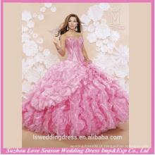 LQ0004 Cor-de-rosa com corajosas organza vestidos de quinceañera mais bonitos estilo ocidental estilo quinceanera vestidos vestido de quinceanera frisado