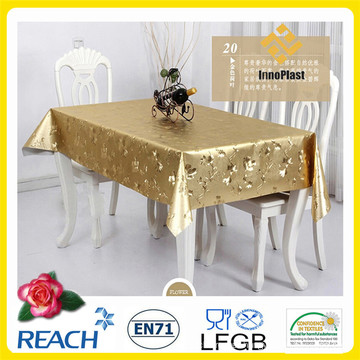 Metal PVC Golden and Embossed PVC Tablecloth in Rolls for Wedding