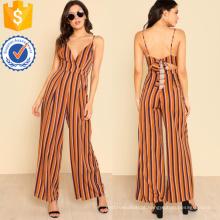 Multicolorido profundo decote em v largo perna macacão OEM / ODM fabricação atacado moda feminina vestuário (ta7012j)
