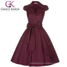 Grace Karin Cap manga cuello de la solapa de cuello en V de alto estirable vino tinto Retro Vintage 50s vestido de estilo CL008953-3