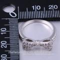 лук дизайн стерлингового серебра 925 кристалл алмаза розовый сапфир кольцо
