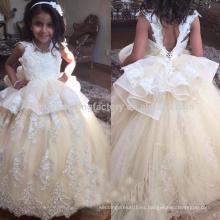 Crystal Beads Flower Girl vestidos piso de longitud Corest espalda para las niñas de los niños vestido de baile vestido de bola primera comunión se viste MF893