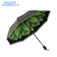 High Quality OEM Customer Flower Full Print Inside 3 Folding Umbrella Corporation China