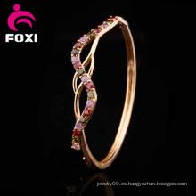 Material de cobre Zircon joyas 18k oro plateado brazaletes