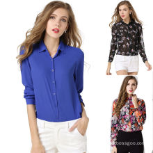OEM Manufacturer Women High Quality Button-Front Chiffon Shirt