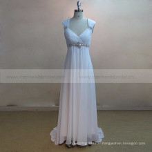 Cap Sleeve Outdoor Beach Chiffon Bohemian Wedding Dress With Beads Belt