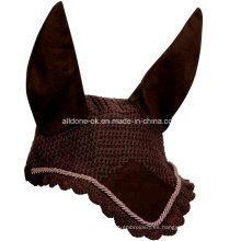 Custom mano crochet caballo mosca oído capucha máscaras velos