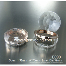 Diamond simple compact powder case powder case round plastic cosmetic powder container eyeshadow container